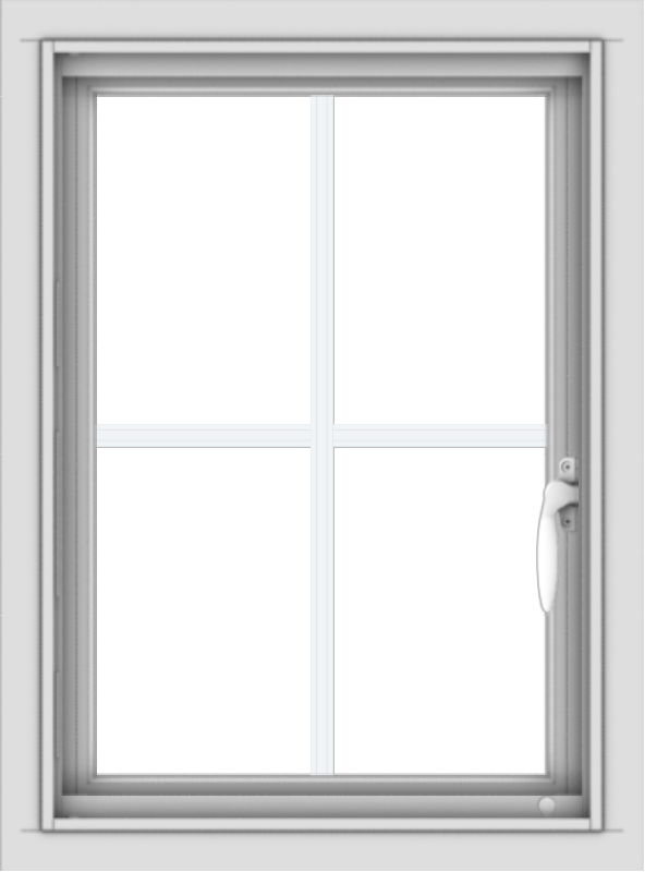 WDMA 18x24 (17.5 x 23.5 inch) Vinyl uPVC White Push out Casement Window with Colonial Grids