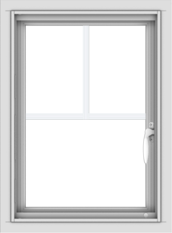 WDMA 18x24 (17.5 x 23.5 inch) Vinyl uPVC White Push out Casement Window with Fractional Grilles