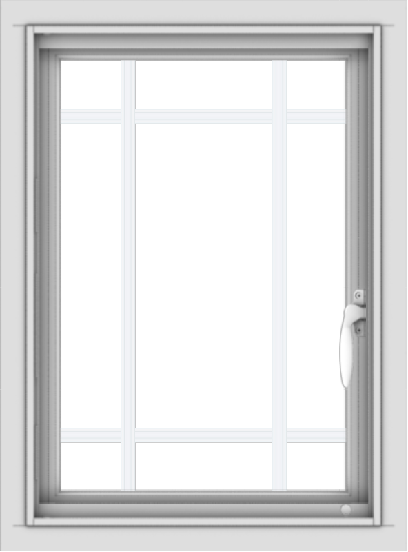 WDMA 18x24 (17.5 x 23.5 inch) Vinyl uPVC White Push out Casement Window with Prairie Grilles