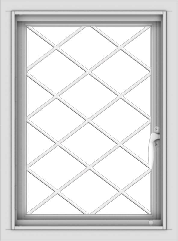 WDMA 18x24 (17.5 x 23.5 inch) Vinyl uPVC White Push out Casement Window without Grids with Diamond Grills