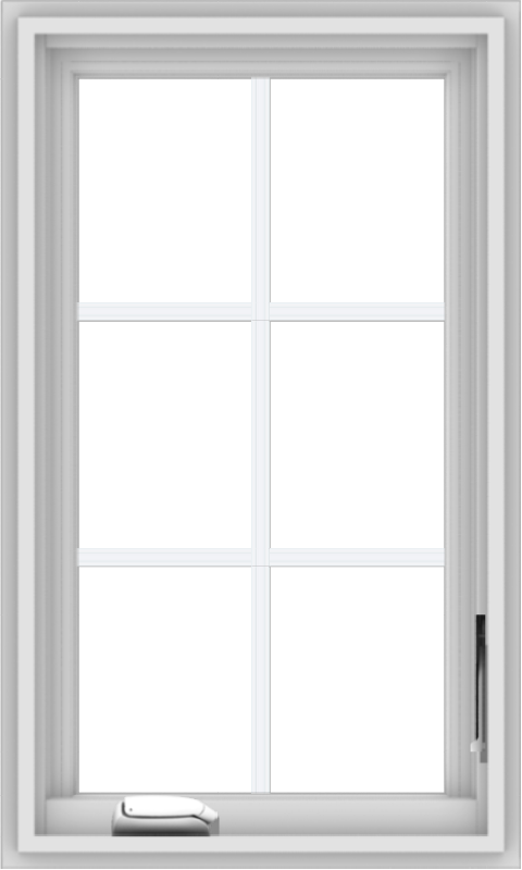 WDMA 18x30 (17.5 x 29.5 inch) White Vinyl uPVC Crank out Casement Window with Colonial Grids