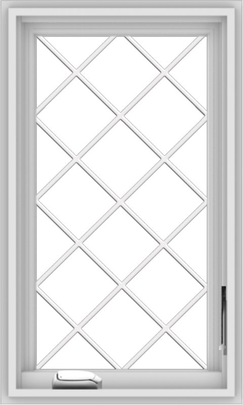 WDMA 18x30 (17.5 x 29.5 inch) White Vinyl uPVC Crank out Casement Window  with Diamond Grills
