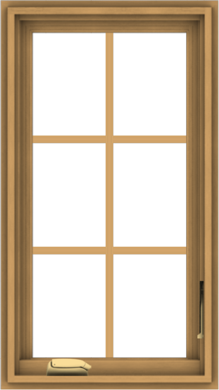 WDMA 18x32 (17.5 x 31.5 inch) Pine Wood Dark Grey Aluminum Crank out Casement Window with Colonial Grids