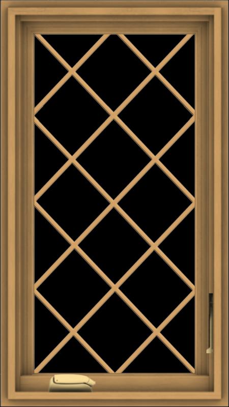 WDMA 18x32 (17.5 x 31.5 inch) Pine Wood Dark Grey Aluminum Crank out Casement Window  with Diamond Grills