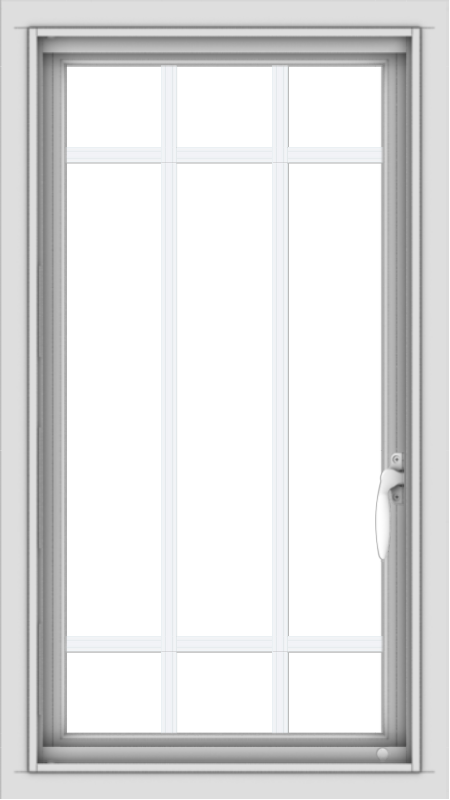 WDMA 18x32 (17.5 x 31.5 inch) Vinyl uPVC White Push out Casement Window with Prairie Grilles
