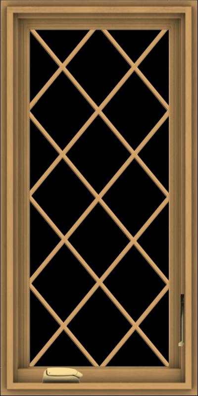 WDMA 18x36 (17.5 x 35.5 inch) Pine Wood Dark Grey Aluminum Crank out Casement Window  with Diamond Grills