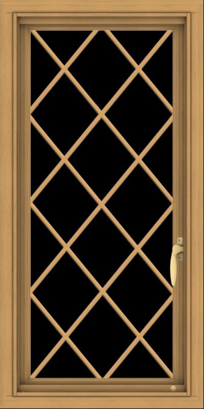 WDMA 18x36 (17.5 x 35.5 inch) Pine Wood Light Grey Aluminum Push out Casement Window  with Diamond Grills