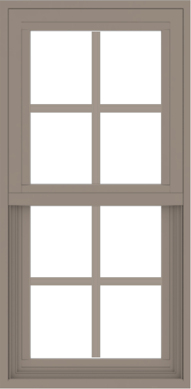 WDMA 18x36 (17.5 x 35.5 inch) Vinyl uPVC Brown Single Hung Double Hung Window with Colonial Grids Exterior