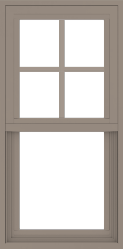 WDMA 18x36 (17.5 x 35.5 inch) Vinyl uPVC Brown Single Hung Double Hung Window with Top Colonial Grids Exterior