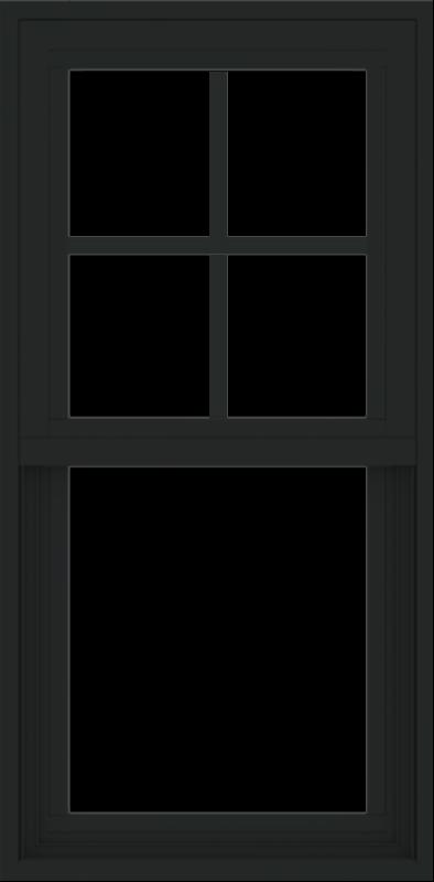 WDMA 18x36 (17.5 x 35.5 inch) Vinyl uPVC Black Single Hung Double Hung Window with Prairie Grids Interior