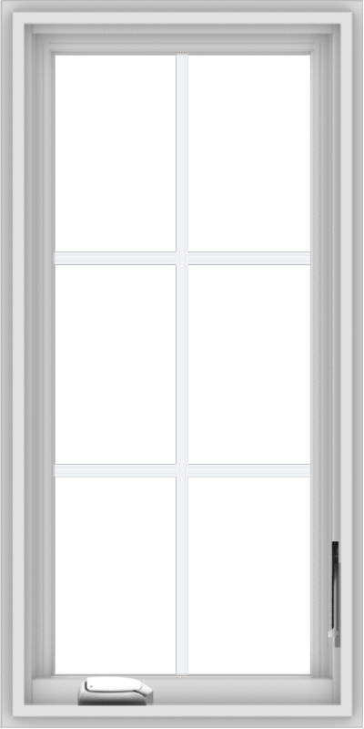 WDMA 18x36 (17.5 x 35.5 inch) White Vinyl uPVC Crank out Casement Window with Colonial Grids