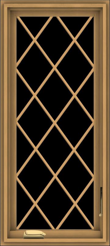 WDMA 18x40 (17.5 x 39.5 inch) Pine Wood Dark Grey Aluminum Crank out Casement Window  with Diamond Grills
