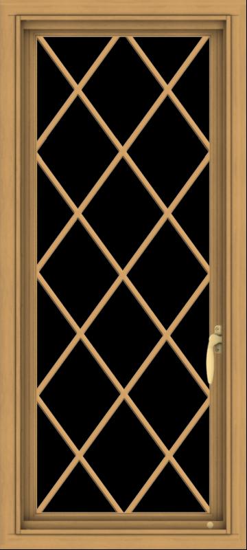 WDMA 18x40 (17.5 x 39.5 inch) Pine Wood Light Grey Aluminum Push out Casement Window  with Diamond Grills