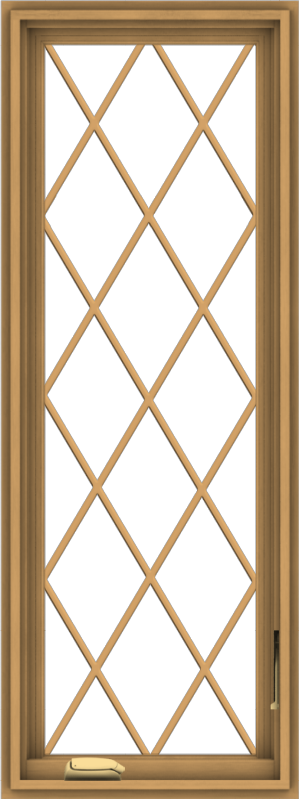 WDMA 18x48 (17.5 x 47.5 inch) Pine Wood Dark Grey Aluminum Crank out Casement Window without Grids with Diamond Grills