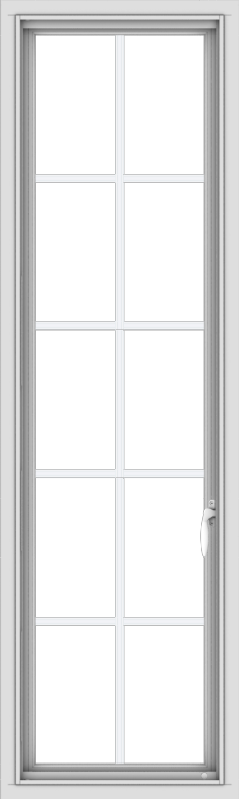 WDMA 18x60 (17.5 x 59.5 inch) White Vinyl uPVC Push out Casement Window with Colonial Grids