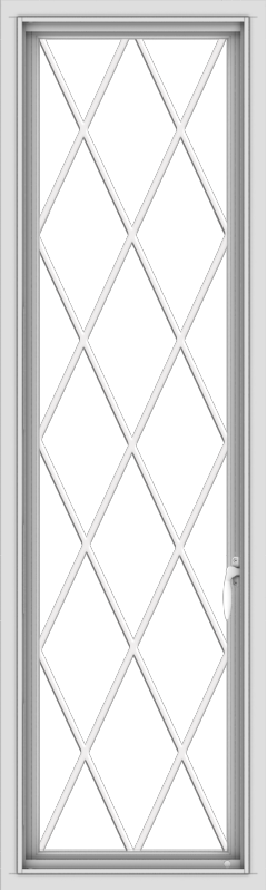 WDMA 18x60 (17.5 x 59.5 inch) White Vinyl uPVC Push out Casement Window without Grids with Diamond Grills