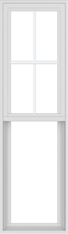 WDMA 18x60 (17.5 x 59.5 inch) Vinyl uPVC White Single Hung Double Hung Window with Top Colonial Grids Exterior