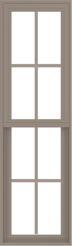 WDMA 18x60 (17.5 x 59.5 inch) Vinyl uPVC Brown Single Hung Double Hung Window with Colonial Grids Exterior