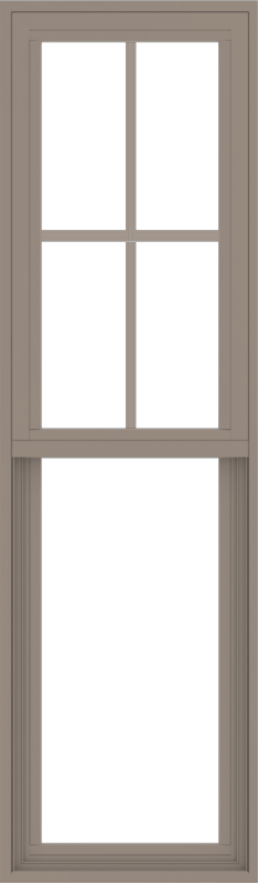 WDMA 18x60 (17.5 x 59.5 inch) Vinyl uPVC Brown Single Hung Double Hung Window with Top Colonial Grids Exterior