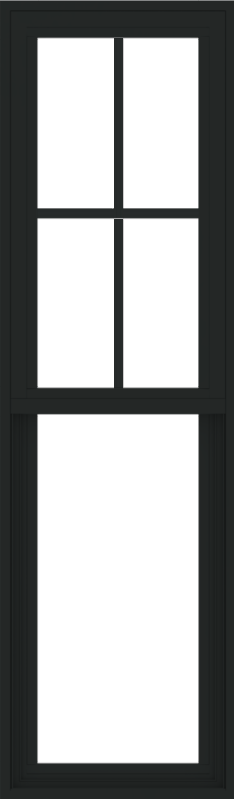 WDMA 18x60 (17.5 x 59.5 inch) Vinyl uPVC Black Single Hung Double Hung Window with Prairie Grids Interior