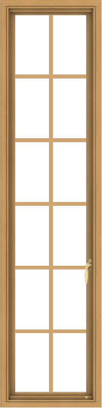 WDMA 18x72 (17.5 x 71.5 inch) Pine Wood Light Grey Aluminum Push out Casement Window with Colonial Grids