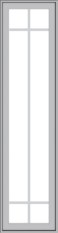 WDMA 18x72 (17.5 x 71.5 inch) Pine Wood Light Grey Aluminum Push out Casement Window with Prairie Grilles
