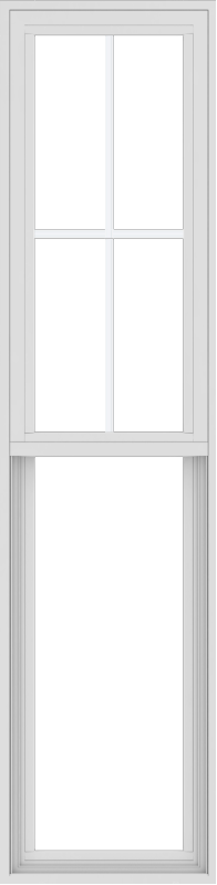 WDMA 18x72 (17.5 x 71.5 inch) Vinyl uPVC White Single Hung Double Hung Window with Top Colonial Grids Exterior