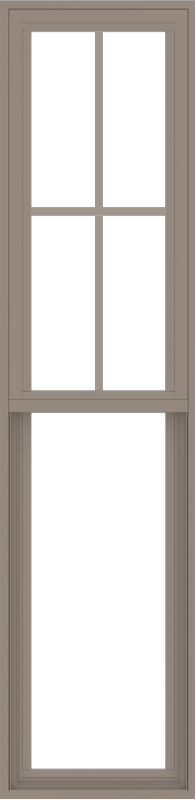 WDMA 18x72 (17.5 x 71.5 inch) Vinyl uPVC Brown Single Hung Double Hung Window with Top Colonial Grids Exterior