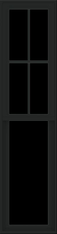WDMA 18x72 (17.5 x 71.5 inch) Vinyl uPVC Black Single Hung Double Hung Window with Prairie Grids Interior
