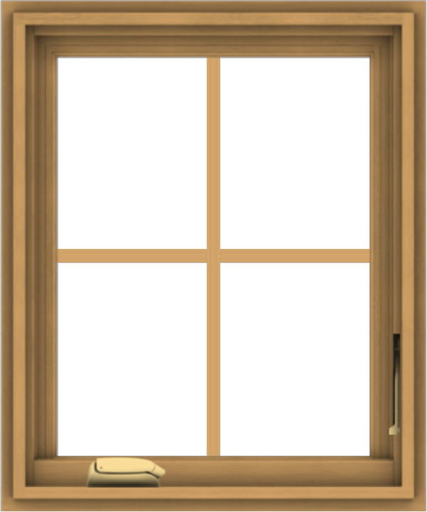 WDMA 20x24 (19.5 x 23.5 inch) Pine Wood Dark Grey Aluminum Crank out Casement Window with Colonial Grids