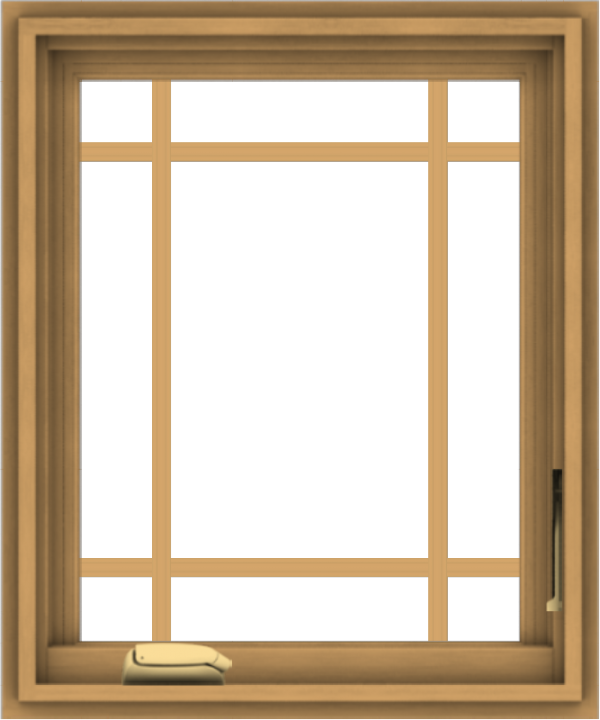 WDMA 20x24 (19.5 x 23.5 inch) Pine Wood Dark Grey Aluminum Crank out Casement Window with Prairie Grilles