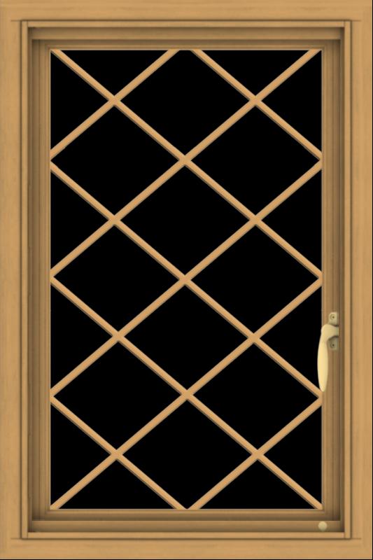 WDMA 20x30 (19.5 x 29.5 inch) Pine Wood Light Grey Aluminum Push out Casement Window  with Diamond Grills