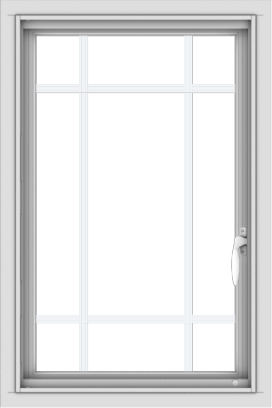 WDMA 20x30 (19.5 x 29.5 inch) Vinyl uPVC White Push out Casement Window with Prairie Grilles
