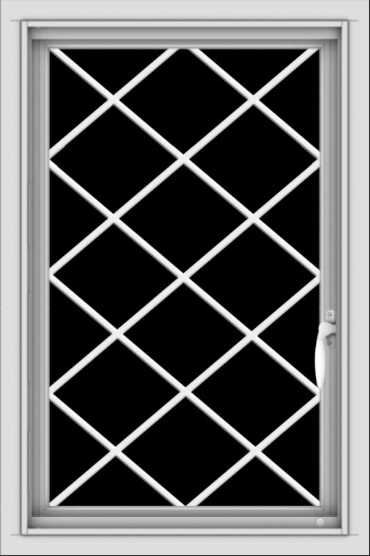 WDMA 20x30 (19.5 x 29.5 inch) Vinyl uPVC White Push out Casement Window  with Diamond Grills