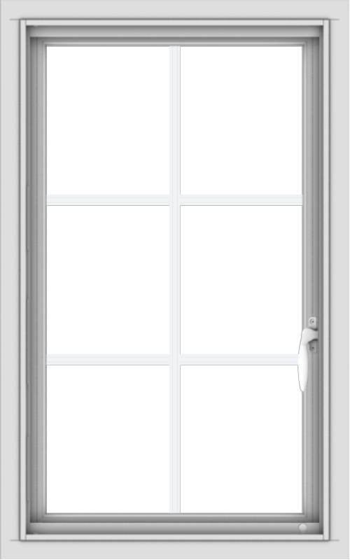 WDMA 20x32 (19.5 x 31.5 inch) Vinyl uPVC White Push out Casement Window with Colonial Grids