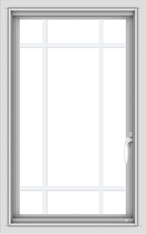 WDMA 20x32 (19.5 x 31.5 inch) Vinyl uPVC White Push out Casement Window with Prairie Grilles