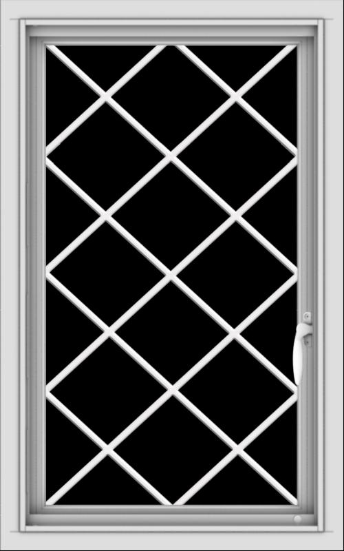 WDMA 20x32 (19.5 x 31.5 inch) Vinyl uPVC White Push out Casement Window  with Diamond Grills