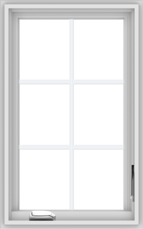 WDMA 20x32 (19.5 x 31.5 inch) White Vinyl uPVC Crank out Casement Window with Colonial Grids