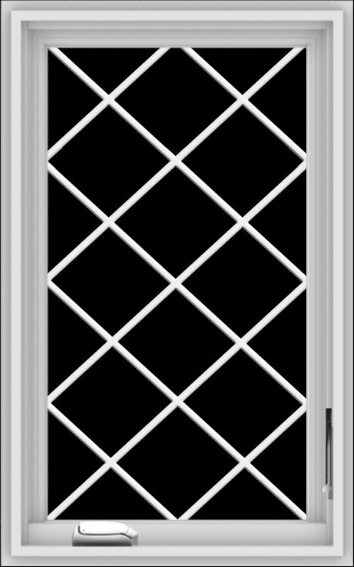 WDMA 20x32 (19.5 x 31.5 inch) White Vinyl uPVC Crank out Casement Window  with Diamond Grills