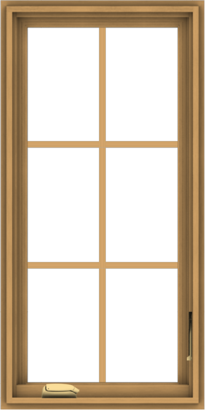 WDMA 20x40 (19.5 x 39.5 inch) Pine Wood Dark Grey Aluminum Crank out Casement Window with Colonial Grids