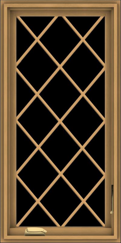 WDMA 20x40 (19.5 x 39.5 inch) Pine Wood Dark Grey Aluminum Crank out Casement Window  with Diamond Grills