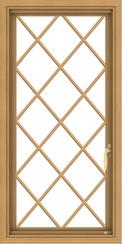 WDMA 20x40 (19.5 x 39.5 inch) Pine Wood Light Grey Aluminum Push out Casement Window  with Diamond Grills