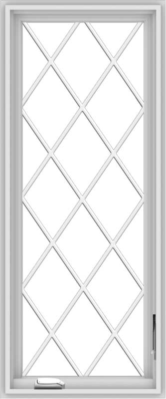 WDMA 20x48 (19.5 x 47.5 inch) White Vinyl uPVC Crank out Casement Window without Grids with Diamond Grills