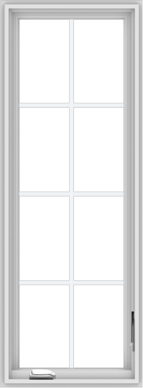 WDMA 20x54 (19.5 x 53.5 inch) White Vinyl uPVC Crank out Casement Window with Colonial Grids