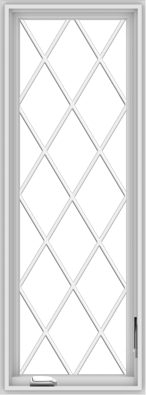 WDMA 20x54 (19.5 x 53.5 inch) White Vinyl uPVC Crank out Casement Window without Grids with Diamond Grills