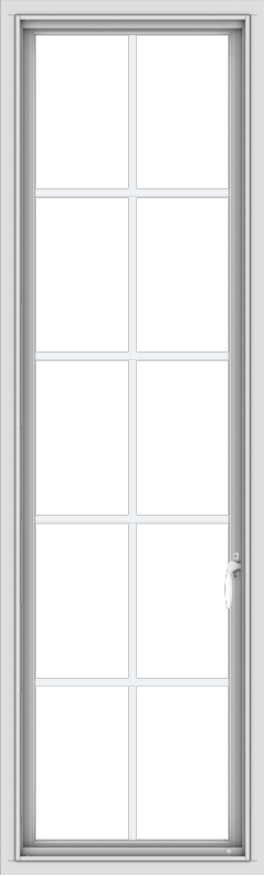 WDMA 20x66 (19.5 x 65.5 inch) White Vinyl uPVC Push out Casement Window with Colonial Grids