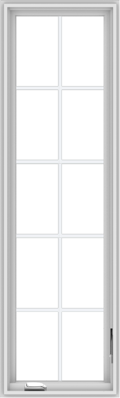 WDMA 20x66 (19.5 x 65.5 inch) White Vinyl uPVC Crank out Casement Window with Colonial Grids
