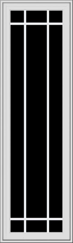 WDMA 20x66 (19.5 x 65.5 inch) White Vinyl uPVC Crank out Casement Window with Prairie Grilles