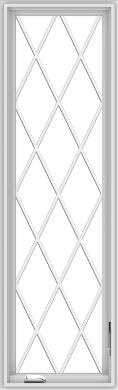 WDMA 20x66 (19.5 x 65.5 inch) White Vinyl uPVC Crank out Casement Window without Grids with Diamond Grills