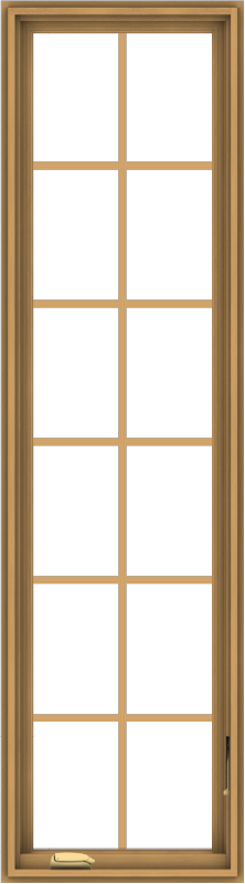 WDMA 20x72 (19.5 x 71.5 inch) Pine Wood Dark Grey Aluminum Crank out Casement Window with Colonial Grids